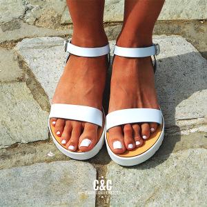 b3d991c0797 ... ασπρο πατο λευκος πατος σανδαλια καλοκαιρινα ασπρομαυρα σανδαλια ασπρα  σανδαλια
