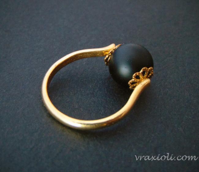 δαχτυλιδι με μαυρη πετρα