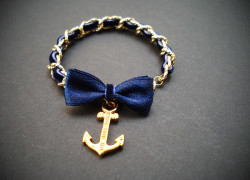 golden chain with navy ribbon 4