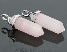 Natural Pink quartz point pendant