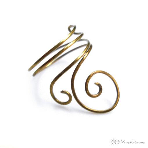 δαχτυλίδι σπιράλ από ορείχαλκο
