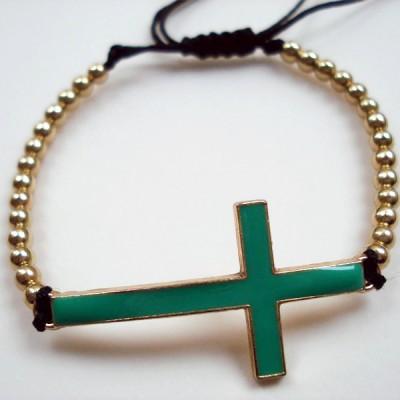 Βραχιόλι μακραμέ χρυσός σταυρός με πράσινο σμάλτο