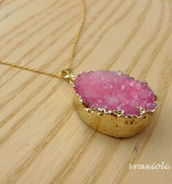 pink crystal necklace gold
