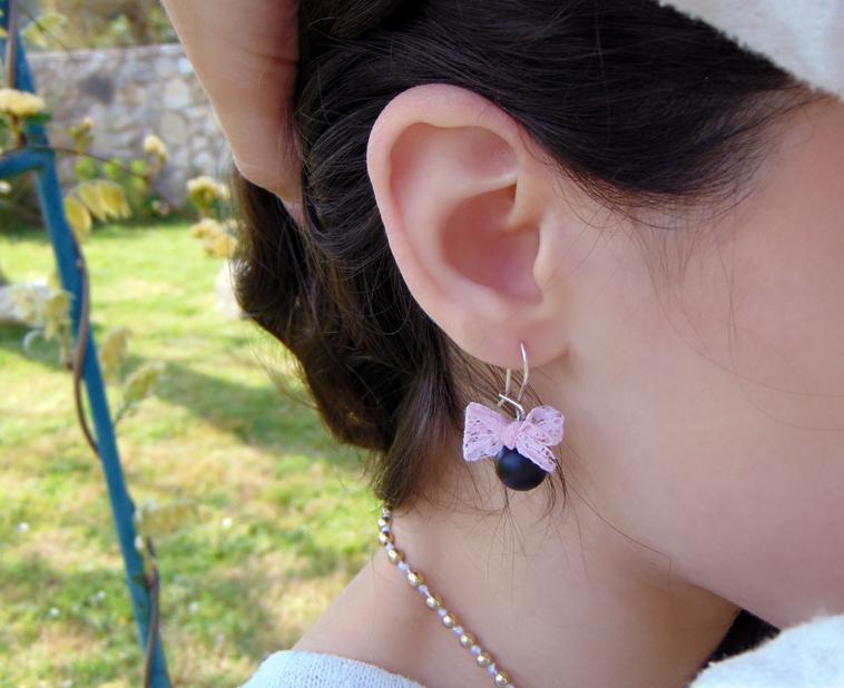 χειροποίητα σκουλαρίκια με δαντέλα