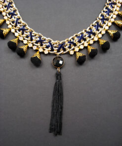 boho necklace with chains and smoky crystal