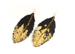 Feather Earrings - Leather Feather