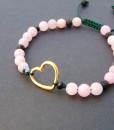 Bracelet with heart and pink jade
