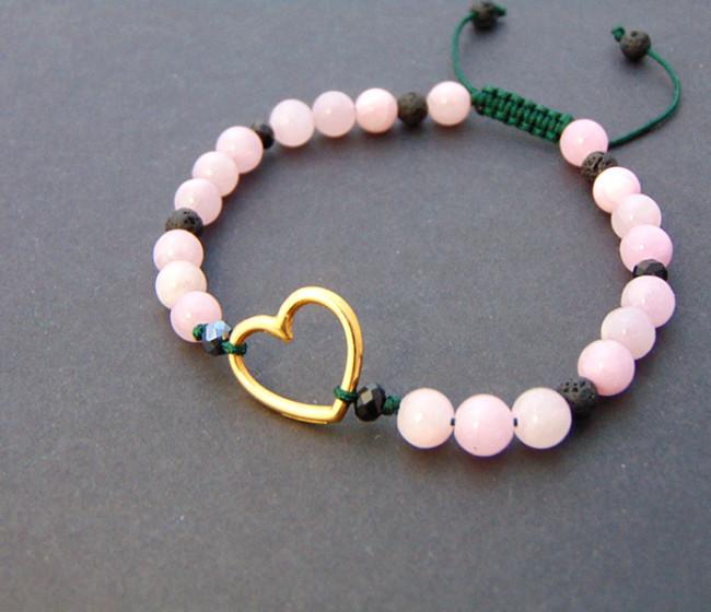 Βραχιολακι με καρδια και ροζ νεφρίτες