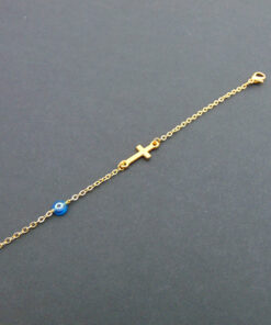vrachioli me stavro kai mataki bracelet with cross and evil eye