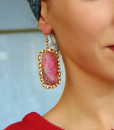 Earrings with semiprecious stones