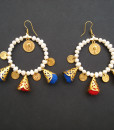 Summer colorful earrings with pom poms and natural pearls