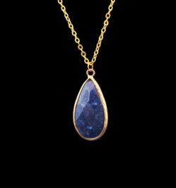 Drop shape pendant of blue semi-precious stone
