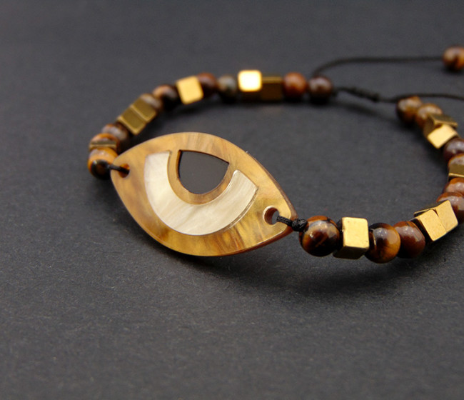 bracelet and semi-precious hematite beads