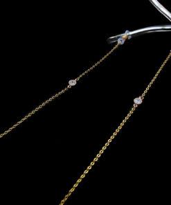 Λεπτή αλυσίδα γυαλιών σε χρυσό χρώμα με στρας υψηλής ποιότητας