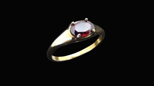 χρυσο δαχτυλιδι με κοκκινη πετρα γρανατη