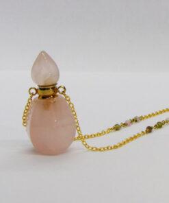 χειροποιητη αλυσιδα ροζαριο απο χαντρες τουρμαλινης , ροζ χαλαζιας μπουκαλακι
