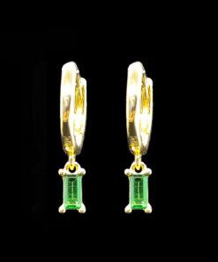 χρυσα σκουλαρικια κρικοι με πρασινα κρυσταλλα