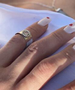 ασημενιο δαχτυλιδι με ροζ πετρα
